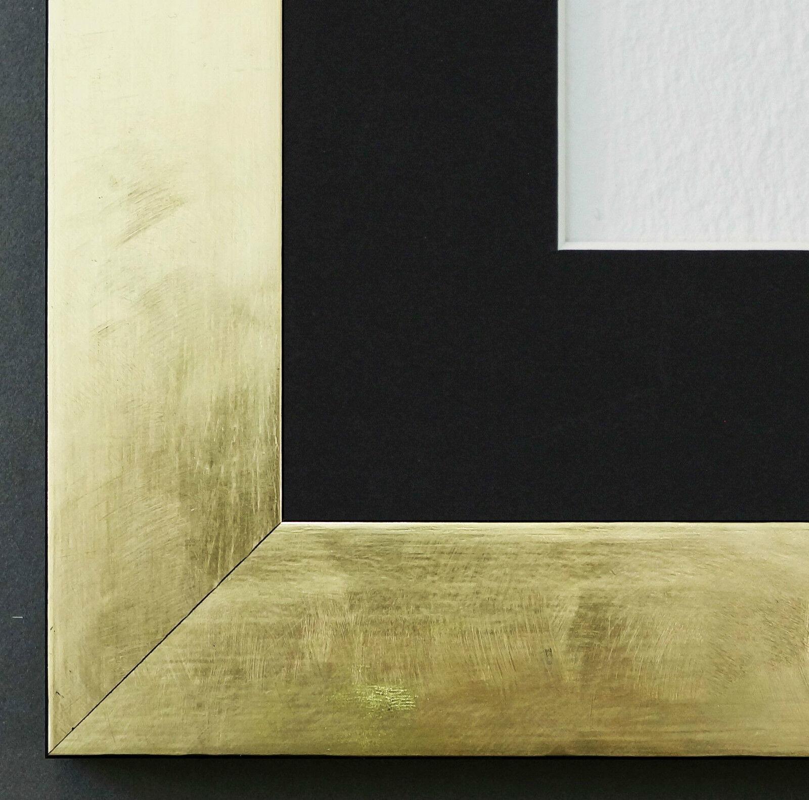 Bilderrahmen Lecce in Gold mit PassepKunstout in Schwarz 3,9 Top Qualität