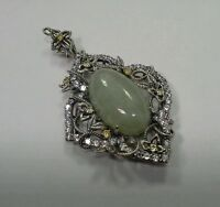 Hsn Jade Of Yesteryear Sterling Silver Filigree Art Deco Pendant
