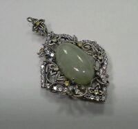 Hsn Jade Of Yesteryear Sterling Silver Filigree Art Deco Pendant