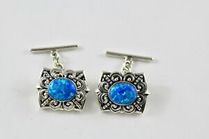 Victorian Style White Gilson Opal Filigree Cufflinks 925 Sterling Silver Mens Gift