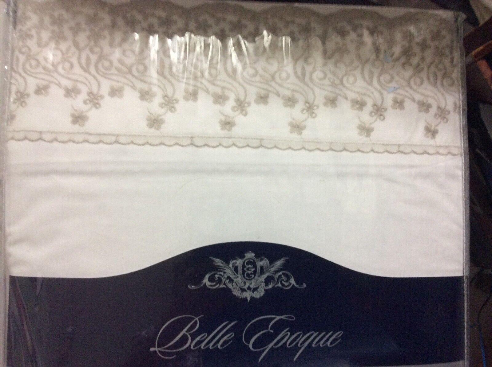 Belle Epoque padua Lace trellis Sheet Set, cal  King,Weiß   taupe