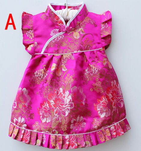 New Baby Toddler Girl Chinese Asian Birthday Shirt Floral Top Dress Outfit Set