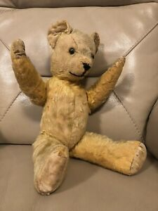 Pedigree-Teddy-Bear-Vintage-1940s-Golden-Mohair-Moving-Arms-Legs-English-1950s