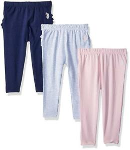 Legging US Polo Toddler Girls Pants Long Ruffle Pack Of 3 Size 2T 3T 4 T New tag