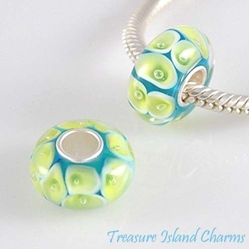 GREEN CALLA LILY FLOWER ON BLUE MURANO GLASS Sterling Silver EUROPEAN Bead Charm