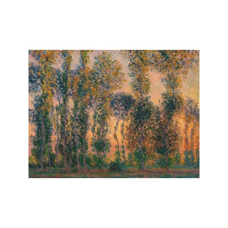 Quadro su at Pannello in Legno MDF Claude Monet Poplars at su Giverny, Sunrise 9e9dca