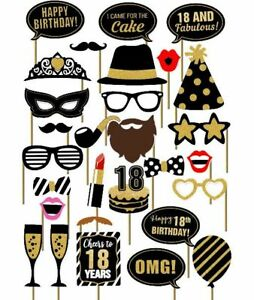 29pcs 18th Old Year Birthday Party Supplies Masks Favor Photo Booth