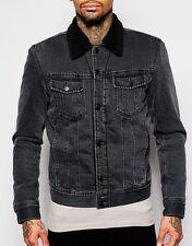 DIESEL Denim BORG giacca L large lana pile pelliccia linee COLLO JEANS effetto invecchiato