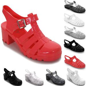 ad7643770817a1 Womens Summer Flat Block Heel Plain Glitter Flip Flop Sandals Jelly ...