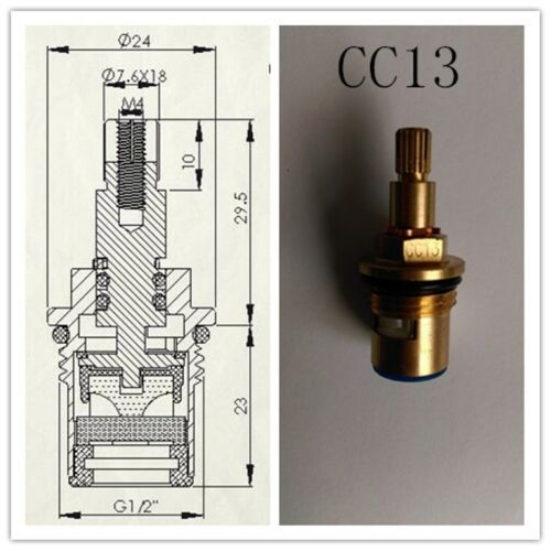 REPLACEMENT BRASS CERAMIC DISC TAP VALVES CC13 QUARTER TURN GLAND INSERT PAIR