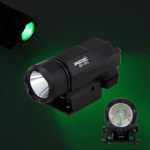 Compacto-verde-LED-Linterna-Antorcha-Colgante-riel-para-Pistola-para-de-caza