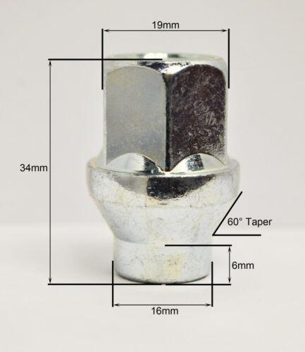 zinco 19mm Hex Alloy Dadi Ruota Con Gambo 6mm 16 x m12 x 1.5