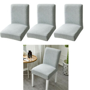 Details about Set of 4 Stretch Dining Room Chair Covers Short Low Back  Chair Slipcovers