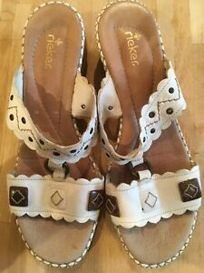 Ladies-Rieker-White-Embellished-Sandals-Size-7-Excellent-Condition