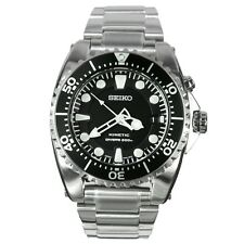 BRAND NEW Seiko Gents Kinetic Diver's Stainless Steel Black Bezel Watch SKA371P1