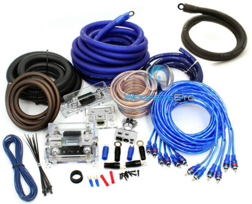 0 GAUGE /& 4 GAUGE 2 WAY 8500W 3 RCA WIRE AMP KIT INSTALL DUAL AMPLIFIER CABLES O