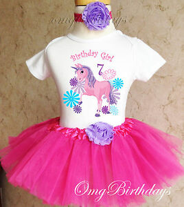Image Is Loading Unicorn Pink Purple Girl 7th Seventh Birthday Tutu