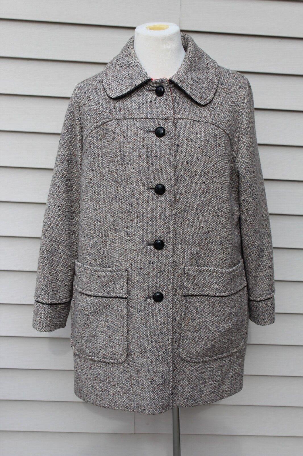 VTG Penguin Fashions Wool Blend Ladies Coat Plaid Leather Buttons Size 14 USA