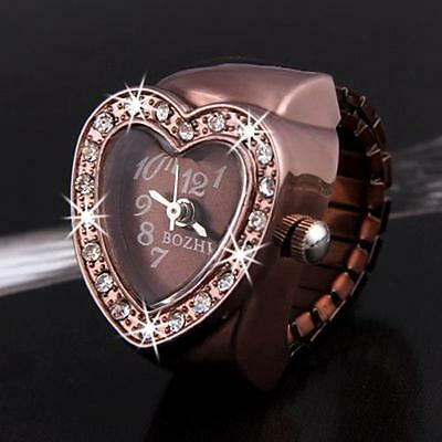"""Rose Gold Heart Crystal Rhinestone Lady Ring Watch Finger Watch 0.8"""" CHIC"""
