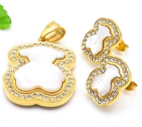 Nouveau en acier inoxydable coquillages Crystal Big Bear Collier Boucles d/'oreilles Set