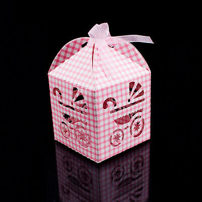 Pink White Checkered Carriage Favor Candy Box Party Baby Shower Decorations 24pc