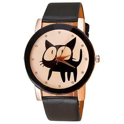 Fashion Casual Watch Girls Ladies Cat Crystal Faux Leather Quartz Wrist Watches