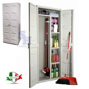 Gensini armadio mobile mobiletto porta scope 2 ante esterno interno 65x45x172 cm ebay - Mobile portascope da esterno ...