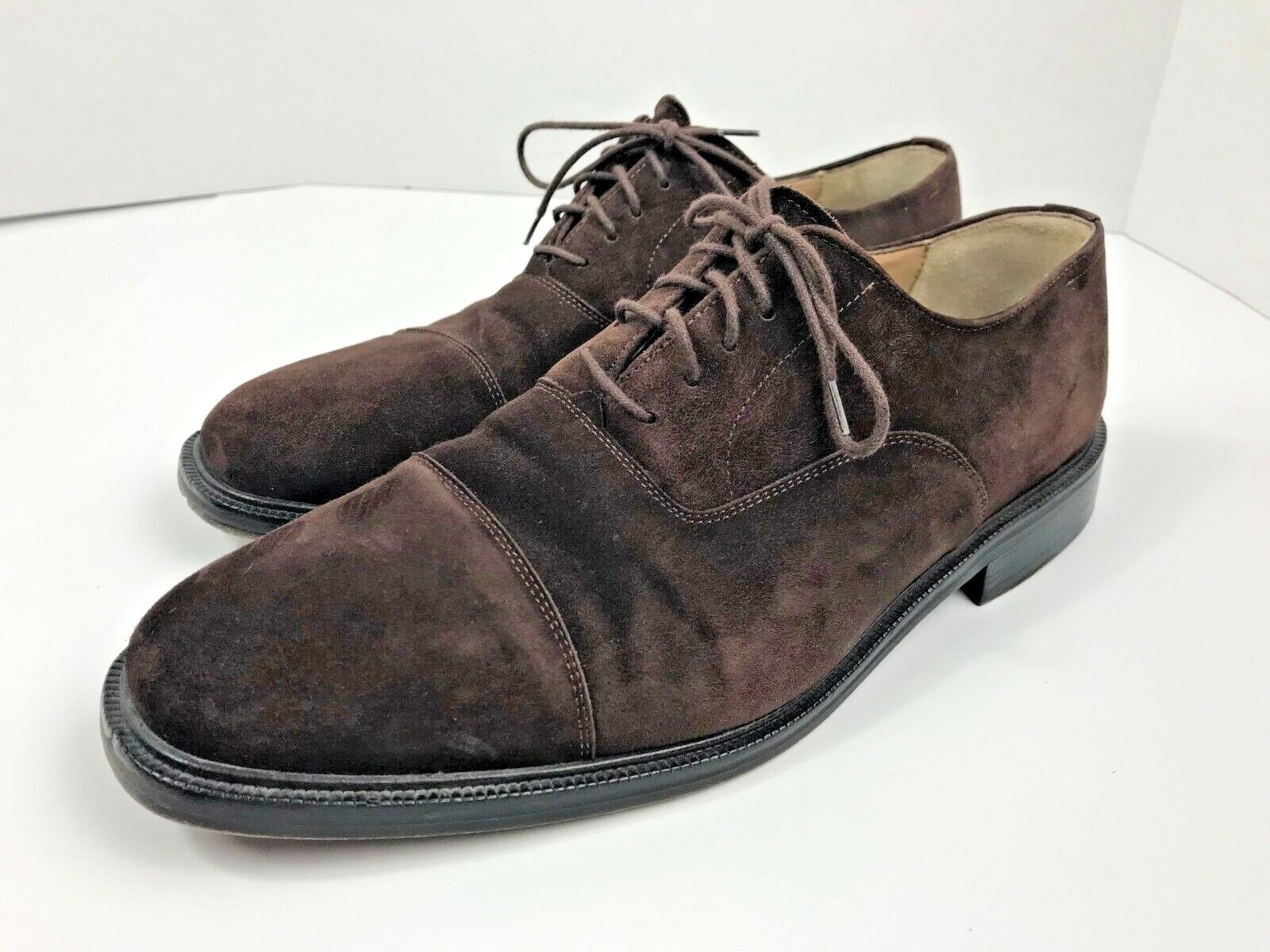 SANDRO MOSCOLONI BROWN SUEDE LEATHER OXFORD MEN'S 10 M SHOES EUC MADE IN SPAIN