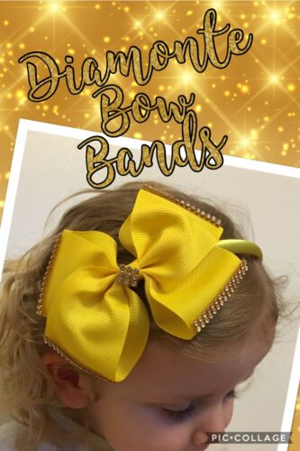 Baby Girls Kids Large Rhinestone Diamonte Hair Bow Headband Alice Gem 12 Colours