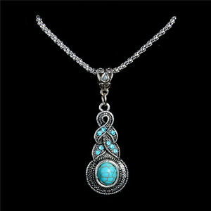 Tibetan-Silver-Turquoise-Necklace-Knot-Water-Drop-Pendant-Jewellery-Gift-Bag