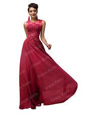 encaje aplicación Largo Boda Vestido Dama De Honor Noche Vestido Fiesta Formal