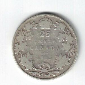 CANADA-1915-TWENTY-FIVE-CENTS-QUARTER-KING-GEORGE-V-STERLING-SILVER-COIN
