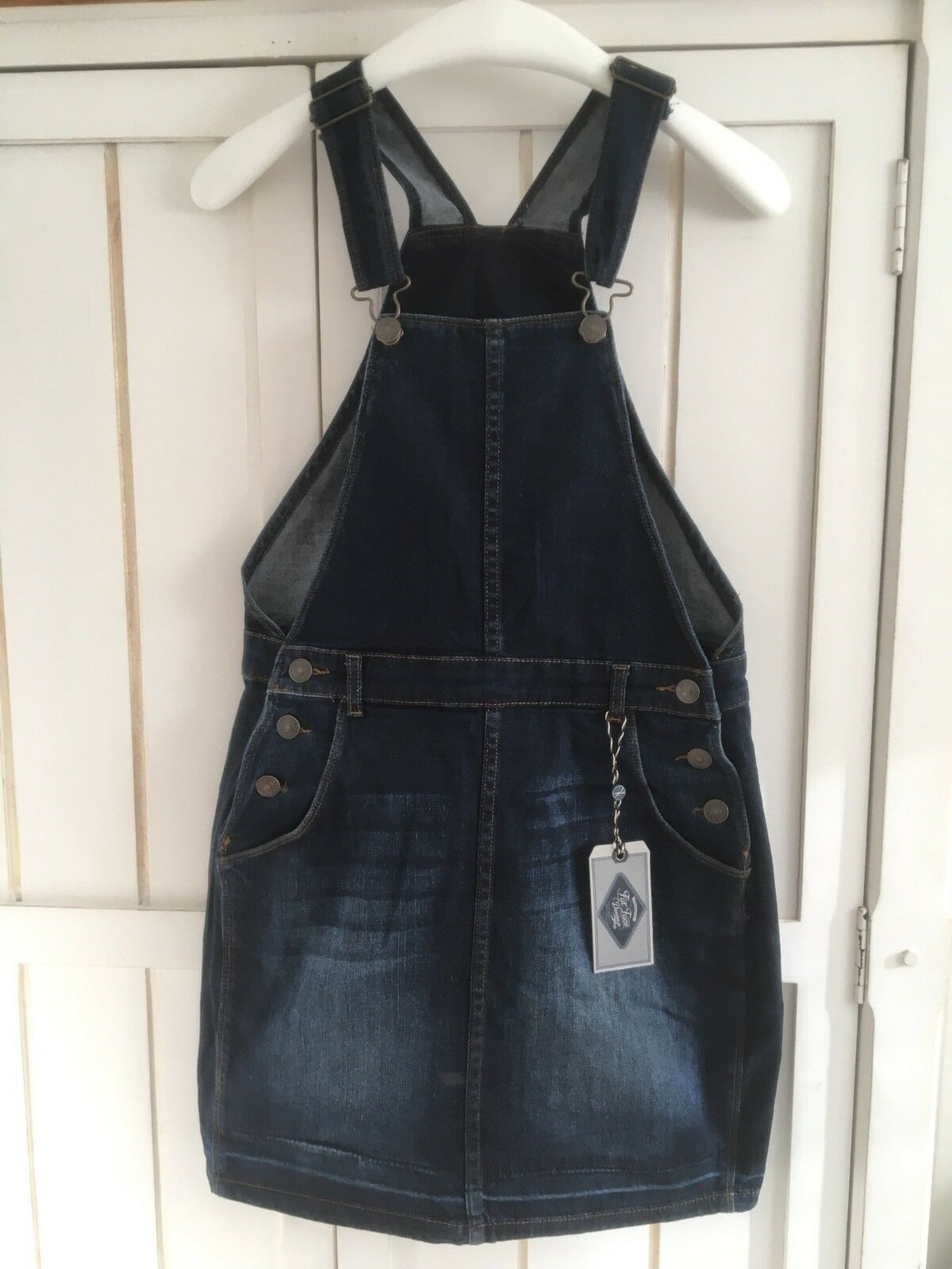 FAT FACE 'Cora' Navy Jeans Dungaree Dress, BNWT