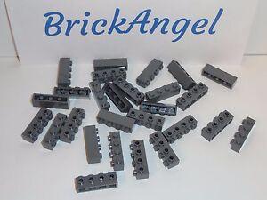 Brick 1x4 Modified 4 Studs on 1 Side New New 4 x lego 30414 Brick Dark Grey
