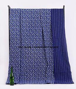Kantha-Quilt-Kantha-Indigo-Blue-Paisley-Quilt-Bohemian-Bedding-Quilted-Bedspread