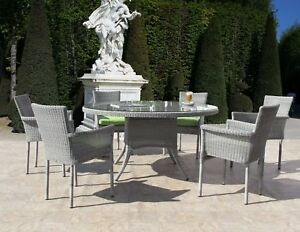 Image Is Loading Pacific Outdoor Resin Wicker 7 Piece Round Table