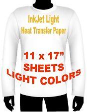 Ink Jet Heat Iron On Transfer Paper Light 11 X 17 9 Sheets