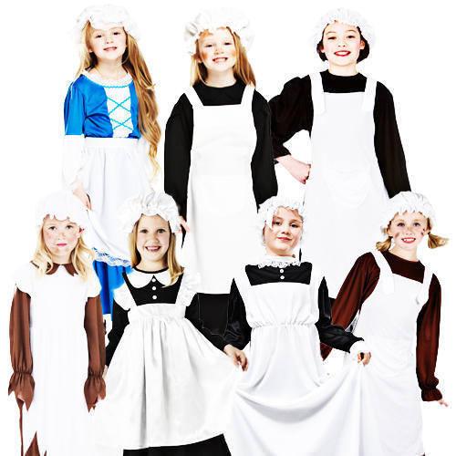 Victorian Maid Girls Fancy Dress Book Day Week Edwardian Kids Childrens Costume