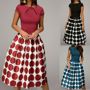 Women-039-s-Elegant-Wave-Point-Pockets-Sashes-Knee-Length-Splice-Casual-A-Line-Dress