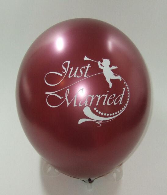 10 Ballons 105 Metallic Burgund - bedruckt - Just Married  Deko Hochzeit Party