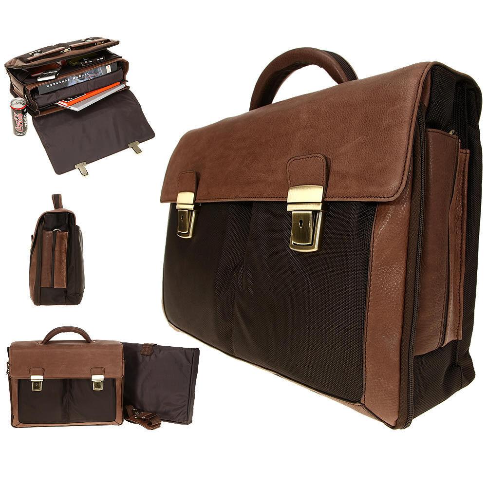 Aktentasche DERMATA Business Leder Tasche Notebooktasche Ledertasche 2827 BRAUN | Leicht zu reinigende Oberfläche  | Outlet Online Store  | Deutschland Frankfurt