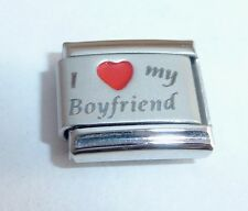I LOVE MY BOYFRIEND Italian Charm - RED HEART 9mm fits Classic Bracelets N292
