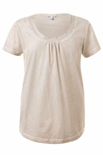 Gina Laura Shirt Kaltfärbung Paillettenborte Rundhals beige Geschenk*