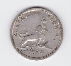 Metal Flaw Error Variety Coin 1954 Royal Visit Silver Florin Australia J-384
