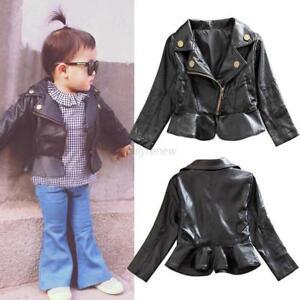 3a0652925e0f Toddler Kids Baby Girls Warm Jacket PU Leather Long Sleeve Zipper ...