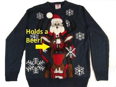 Men S Ugly Christmas Sweater Holds A Beer Holder Santa Riding Reindeer New Ebay