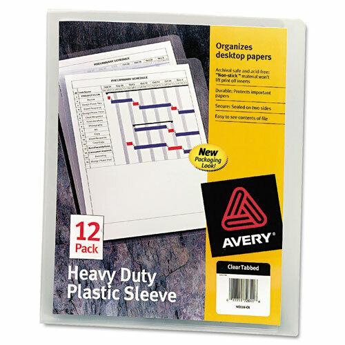 """100 Sheet 8 1//2/"""" x 11/"""" Sheet Size Letter Avery; Heavy Duty Plastic Sleeves"""