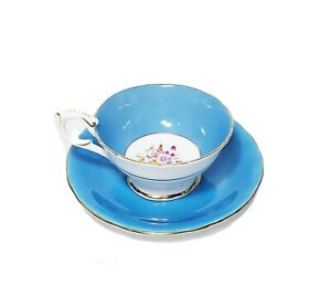 Aynsley Coalport Turquoise Blue Floral Cup And Saucer Mixed Marriage Gold Trim
