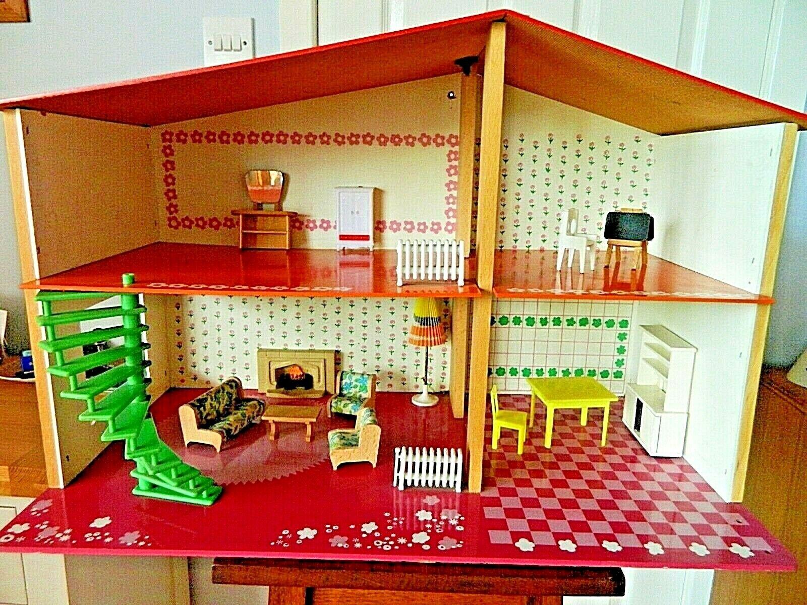 Raro Sio Retro Casa De Muñecas Muebles Originales mediados años 70, iluminación, Hecho En Holanda