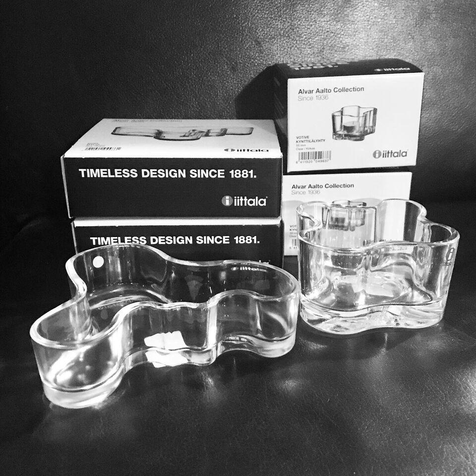 Glasskåle og fyrfadsstager, Iittala i design af Alvar